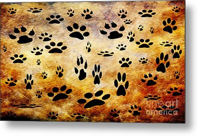 Metal Print featuring the digital art Paw Prints by Andee Design