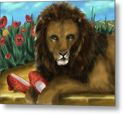 Metal Print featuring the digital art Paws Off My Ruby Slippers by Meagan  Visser
