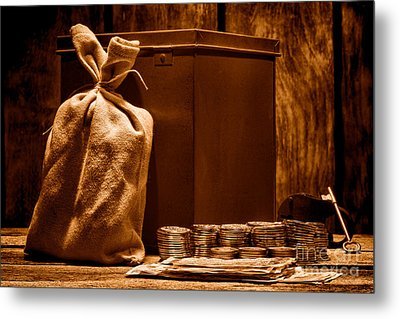 Pay Day - Sepia Metal Print by Olivier Le Queinec