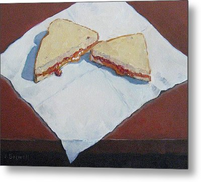 Metal Print featuring the painting Pb And J On Napkin by Jennifer Boswell