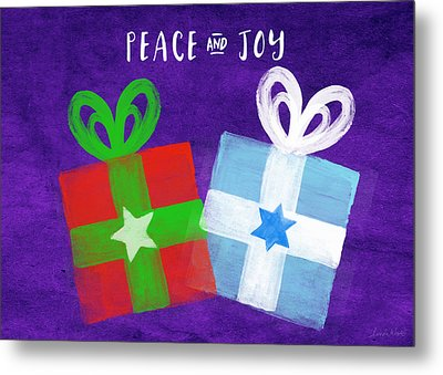 Peace And Joy- Hanukkah And Christmas Card By Linda Woods Metal Print
