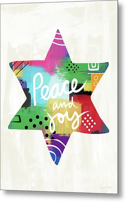 Peace And Joy Star-art By Linda Woods Metal Print by Linda Woods