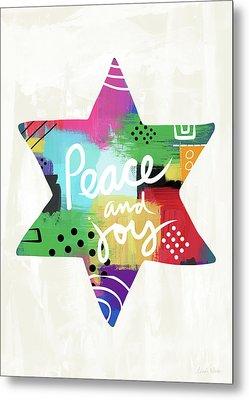 Peace And Joy Star-art By Linda Woods Metal Print