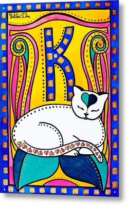Peace And Love - Cat Art By Dora Hathazi Mendes Metal Print