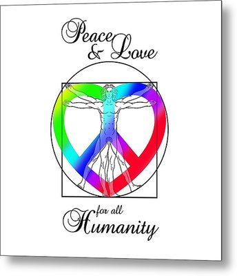 Peace And Love For All Humanity Metal Print by Az Jackson