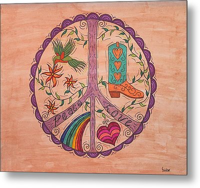 Peace And Love Western Style Metal Print
