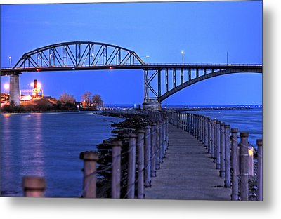 Metal Print featuring the photograph Peace Bridge From Nowak Pier by Don Nieman