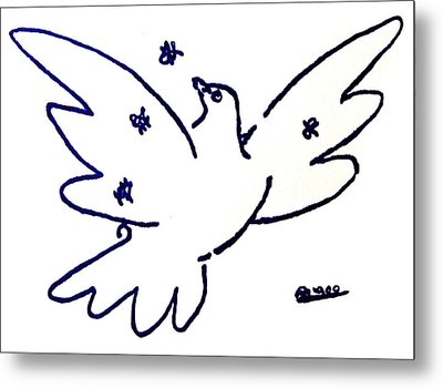 Peace Dove Serigraph In Blue As A Tribute To Pablo Picasso's Lithograph Of Love Bird With Flowers Metal Print by M Zimmerman