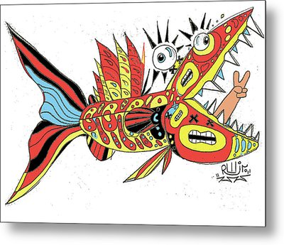 Peace Funky Folk Fish Metal Print