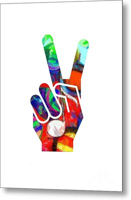 Peace Hippy Paint Hand Sign Metal Print