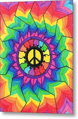Peace Mandala Metal Print by Cheryl Fox