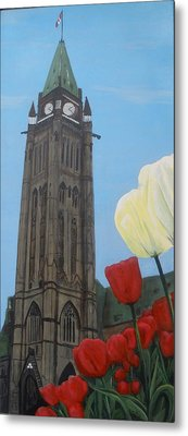 Metal Print featuring the painting Peace Tower by Betty-Anne McDonald