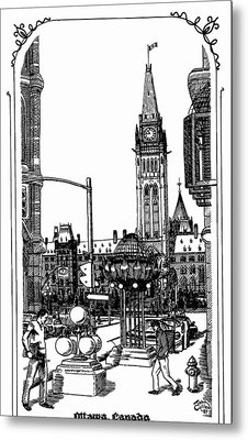 Peace Tower Parliament Hill Ottawa 1995 Metal Print by John Cullen