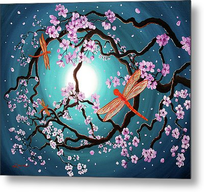 Peace Tree With Orange Dragonflies Metal Print by Laura Iverson