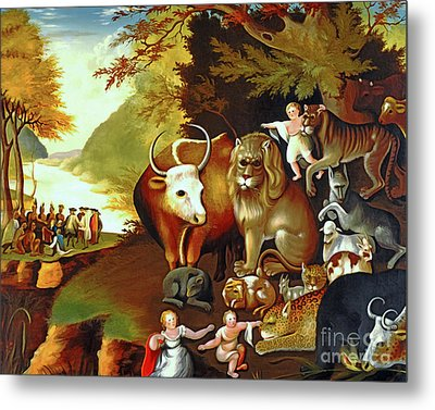 Peaceable Kingdom By Edward Hicks 20170409 Metal Print