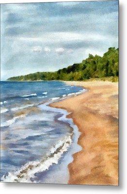 Peaceful Beach At Pier Cove Ll Metal Print by Michelle Calkins