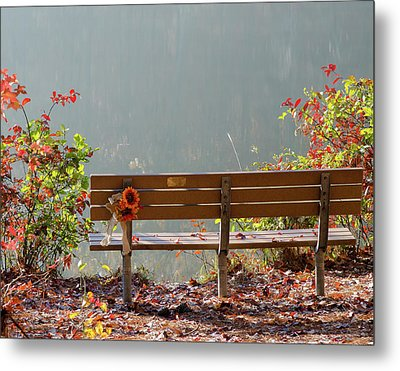 Metal Print featuring the photograph Peaceful Bench by George Randy Bass