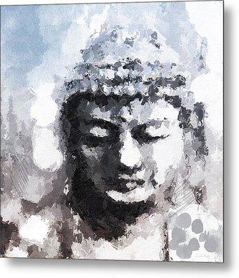 Peaceful Buddha- Art By Linda Woods Metal Print by Linda Woods