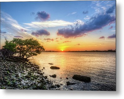 Metal Print featuring the photograph Peaceful Evening On The Waterway by Debra and Dave Vanderlaan