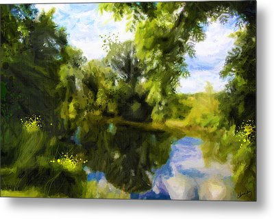 Peaceful Stream Metal Print by Chamira Young