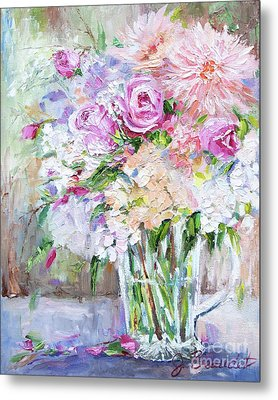 Metal Print featuring the painting Peach And Pink Bouquet by Jennifer Beaudet