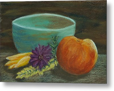 Peach And Pottery Metal Print by Cheryl Albert