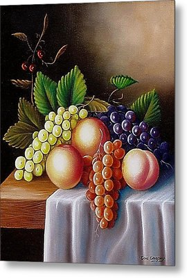 Metal Print featuring the painting Peaches And Grapes by Gene Gregory