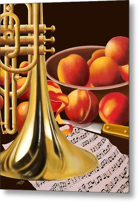 Peaches And Horn Metal Print by James  Mingo