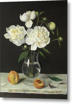 Peaches And Peonies On A Ledge Metal Print