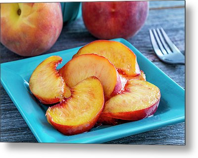 Peaches For Lunch Metal Print by Teri Virbickis