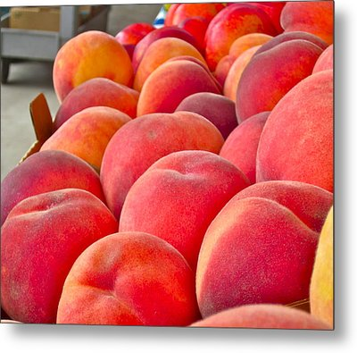 Peaches For Sale Metal Print by Gwyn Newcombe