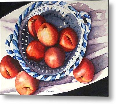 Peaches In Blue Metal Print by Marsha Chandler