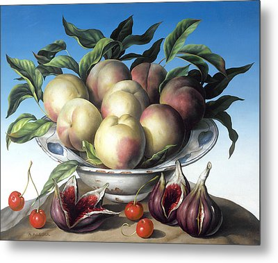 Peaches In Delft Bowl With Purple Figs Metal Print by Amelia Kleiser