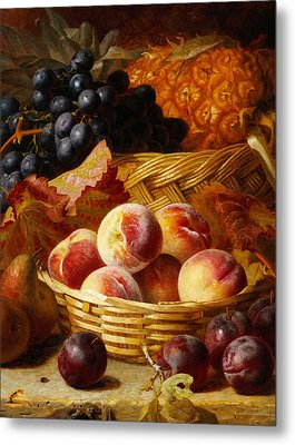 Peaches, Plums, Pears And Pineapple Metal Print by Eloise Harriet Stannard