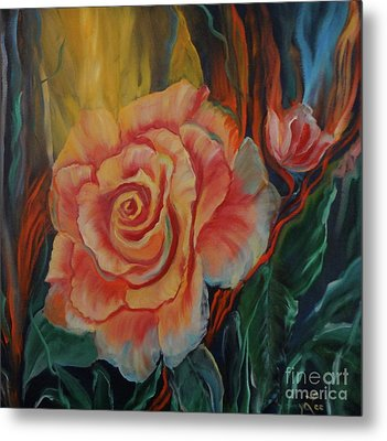 Peachy Rose Metal Print