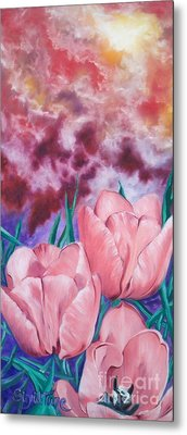 Metal Print featuring the painting Peachypink Tulips by Sigrid Tune