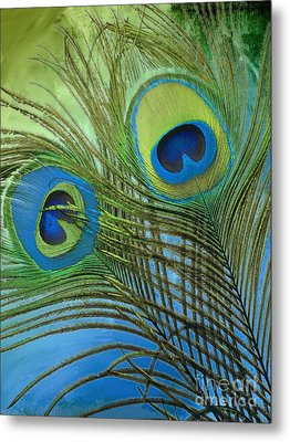 Peacock Candy Blue And Green Metal Print by Mindy Sommers