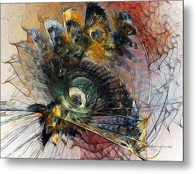 Peacock Fan Metal Print by Karin Kuhlmann