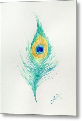 Peacock Feather 2 Metal Print by Oddball Art Co by Lizzy Love