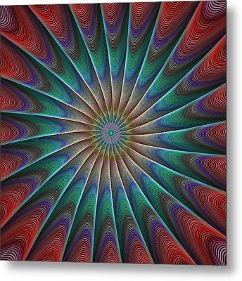 Peacock Fractal Metal Print by David Zydd