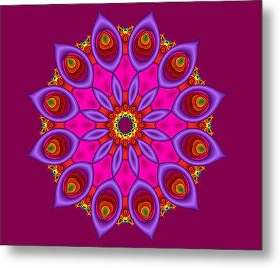 Peacock Fractal Flower II Metal Print