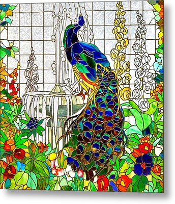 Peacock Stained Glass Metal Print