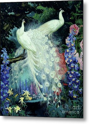 Peacocks And Hollyhocks Metal Print by Pg Reproductions