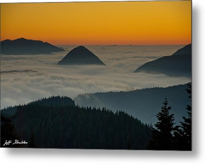 Peaks Above The Fog At Sunset Metal Print by Jeff Goulden