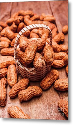 Peanuts In Tiny Basket In Close-up Metal Print by Jorgo Photography - Wall Art Gallery
