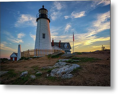 Pemaquid Point Lighthouse At Sunset Metal Print by Rick Berk