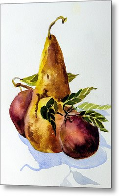 Pear And Apples Metal Print by Mindy Newman