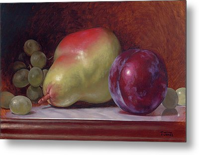 Pear And Plum Metal Print