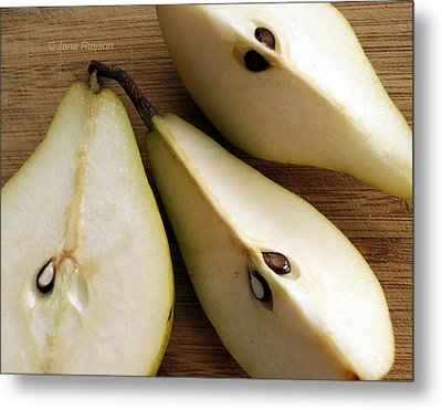 Metal Print featuring the digital art Pear Cut In Three by Jana Russon