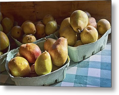 Pear Golden Metal Print by Caitlyn  Grasso